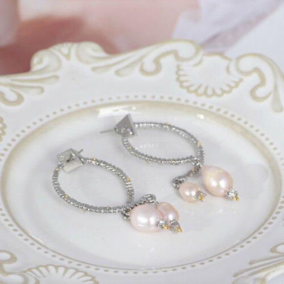 Alexis Bittar Baroque Pearl & Silver Hoop Earrings